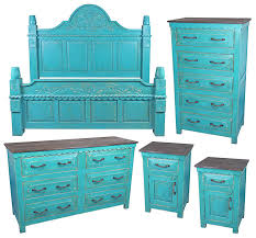 Mexican Painted Wood 5 Piece Bedroom Set