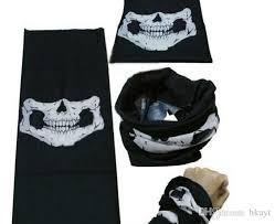 Scary Halloween Half Masks by 2018 Dhl Black Seamless Bicycle Ski Skull Half Face Tube Mask