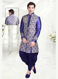 Blue Wedding Designer Wear Brocade Sherwani With Thread Work M16037