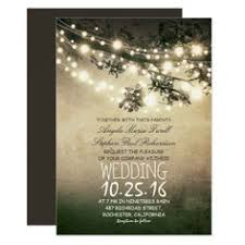 Vintage String Lights Tree Rustic Wedding Invitation Card Lighted