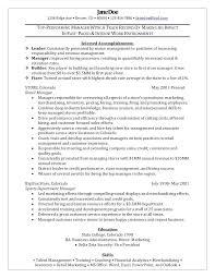 Resume For Retail Management Position Samples Assistant Store Cv Template Senior
