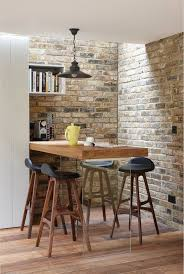 Breakfast Bar Wall Ideas Dining Room Rustic With Contemporary Stools Shelves Exposed Brick