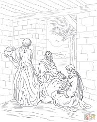 Jesus Visits Mary And Martha Find This Pin More On Realistic Bible Coloring Pages