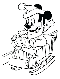 Santa Sleigh And Reindeer Coloring Sheets Baby Mickey Playing With Clauss On Christmas