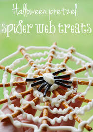 Halloween Pretzel Rod Treats by Halloween Pretzel Spider Webs Tutorial
