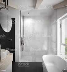 geräumiges und helles modernes badezimmer mit duschkabine mit glaswand stockfoto und mehr bilder architektur