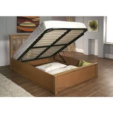 King Size New Alder Solid Oak Ottoman Storage Bed