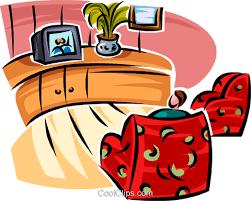 wohnzimmer möbel und einen fernseher se vektor clipart bild