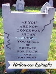 Diy Halloween Tombstones by Thrifty Crafty Gravestone Epitaphs For Halloween