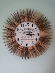 Farmhouse Style Laundry Room Clock Wall Decor Clothespins Art