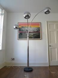 Ore International Glass Floor Lamp Satin Nickel by Vintage Russel Wright Style Torchiere Spun Aluminum Oak Floor Lamp