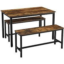 vasagle esstisch küchentisch set 110 x 70 x 75 cm mit 2 bänken je 97 x 30 x 50 cm metallgestell für küche wohnzimmer esszimmer