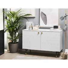beliani kommode weiß mdf platte spanplatte metall 82 x 120 x 40 cm modern mit muster stabiles gestell klein und kompakt praktisch wohnzimmer