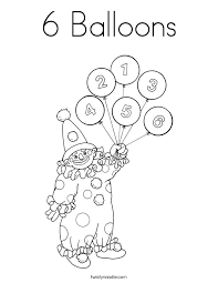 6 Balloons Coloring Page