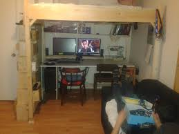 ana white double loft desk combo with storage ladder diy