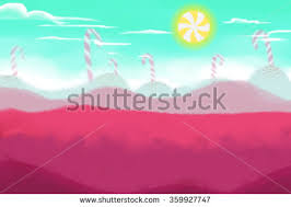 Illustration The Candy Land With Sun Realistic Fantastic Cartoon Style Artwork Scene