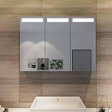 spiegelschrank 90 x 65 cm infrarot sensorschalter badezimmerspiegel badschrank mit rasierersteckdose led 3 türig badezimmerspiegel mit