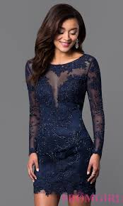 long sleeve lace short prom dress promgirl