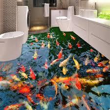 pvc selbst klebstoff wasserdicht 3d boden wandmalereien goldfisch teich foto wand papier aufkleber badezimmer küche home decor papel de parede