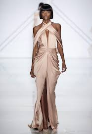 front slit halter champagne satin evening dresses 2017 ralph