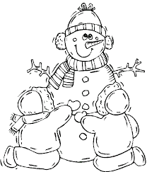 Familly Snowman Winter Coloring Pages