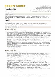 Inside Sales Rep Resume Example