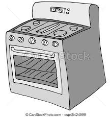 An Image Of A Retro Stove Drawing