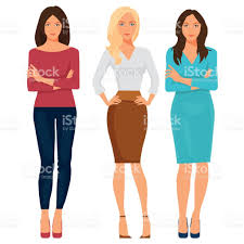 beautiful young women in elegant office clothes vector