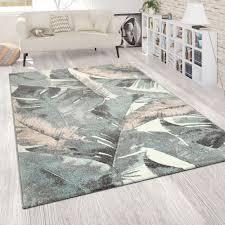 kurzflor teppich palmen motiv grün