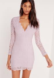 crochet long sleeve bodycon dress lilac missguided