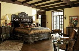 1 High end master bedroom set carvings and tufted leather headboard