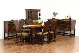 SOLD - English Tudor Style 1920 Antique Oak Dining Set, 6 Chairs New ... Set Of 8 Mahogany Ladder Back Ding Chairs Loveday Antiques West Saint Paul Vintage Finds Art Deco And Retro Fniture Of The 50s 60s Riva 1920 Boss Executive Table 810 Seater Walnut Heals French Louis Xiv Style Circa 1920s Art Deco Console Antique Fniture Sold 4 Tudor New Upholstery Elegant Pair Felix Kayser Antrosophical Ash Wood Chairs From Sothebys Home Designer Fniture John Hutton 0415antiqueshtml Mad For Midcentury More American Martinsville Info