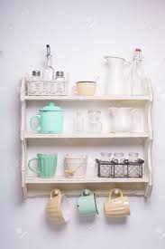 vintage shelf in the kitchen shabby chic style yellow and green