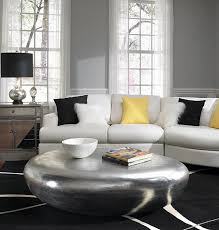 View In Gallery Amazing Coffee Table And Black Decor Accentuate The Gray Yellow Touches Room