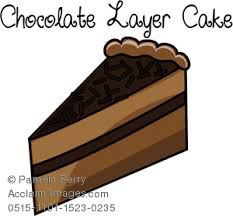 Clip Art Illustration of a Piece of Chocolate Layer Cake Icon