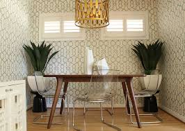Perfect Wallpaper Choice For Small Midcentury Dining Room Design Squarefoot Interior