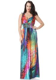 plus size fushia silk boho summer dress with multi color feather
