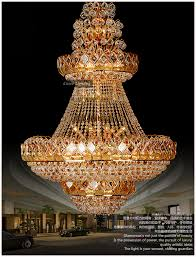 Free Shipping Traditional Big Gold Hotel Lobby Crystal Chandeliers Hanging Lights Lamps Lighting Fixtures Model PL N037 52 In From