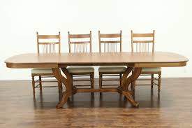 100 Oak Table 6 Chairs SOLD Vintage Dining Set 4 Leaves Signed