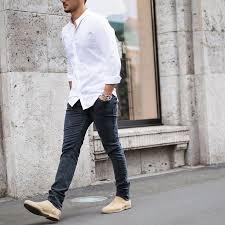 Mens White Shirt Grey Jeans Chelsea Boots