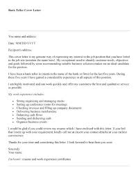 Bank Teller Cover Letter Example Download With Cashier Experience