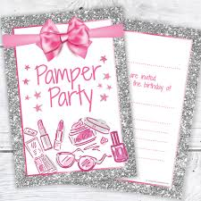 Pamper Party Invitations Cards Stationery
