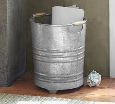 Bathroom Wastebasket With Lid by Galvanized Trash Can Pottery Barn