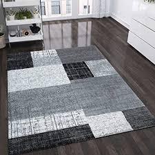 vimoda teppich wohnzimmer kurzflor designer teppiche in schwarz grau weiß kachel optik kariert pflegeleicht maße 80x150 cm