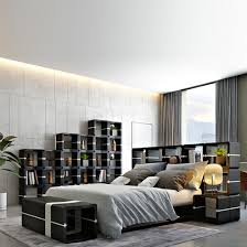 modular bookcases standing and wall shelves and ledges