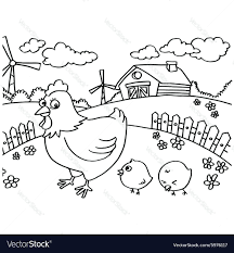 Chicken Little Characters Coloring Pages Baby Pictures Minecraft Vector Image Full Size