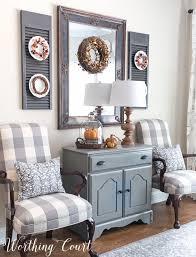 Fall Dining Room Cabinet Vignette
