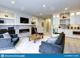 schöner moderner wohnzimmerinnenraum mit steinwand und