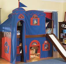 Spiderman Bed Tent by Kids Room Blue And Red Castle Loft Bed With Slide Capped By Blue