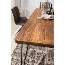 wohnling esstisch bagli massivholz sheesham esszimmer tisch holztisch metallbeine küchentisch landhaus dunkel braun